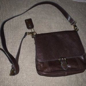 Fossil Brown Genuine Leather Crossbody Purse